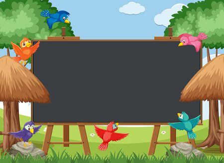 Blackboard template with colorful birds in the park illustration