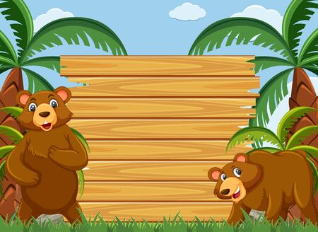 Wooden sign template with grizzly bears in the park illustration