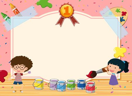 Banner template with two kids painting in the room illustration Illustration