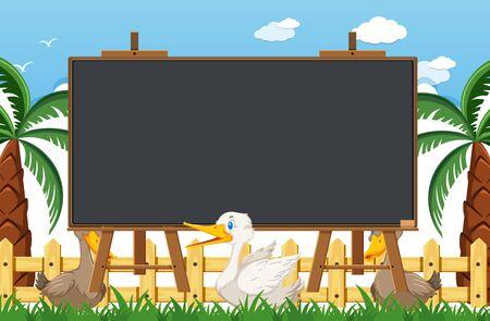 Blackboard template design with ducks in the park illustration Illustration