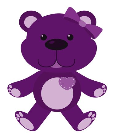 Cute teddy bear in purple color on white background illustration