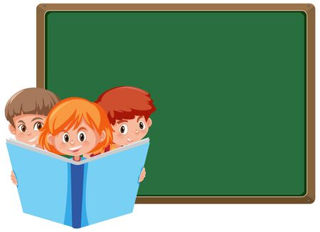 Banner template with three kids reading big book illustration