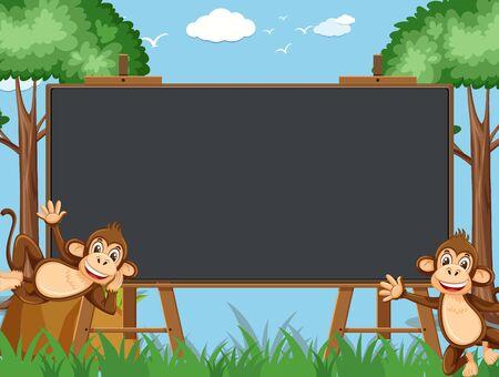 Blackboard template design with happy monkeys in the zoo illustration