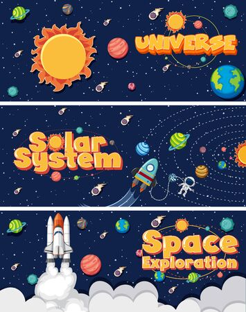 Three background design with many planets in solar system illustration