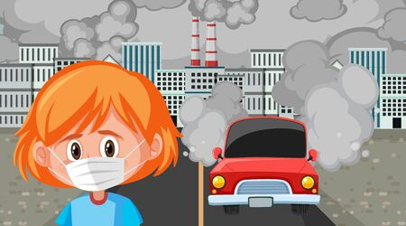 Scene with girl wearing mask in the big city illustration Illustration