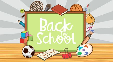 Back to school sign with board and school items illustration Ilustracja
