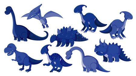 Large set of different types of dinosaurs in blue illustration  イラスト・ベクター素材