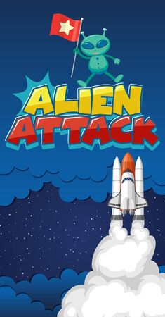 Poster design with alien and spaceship in dark space background illustration