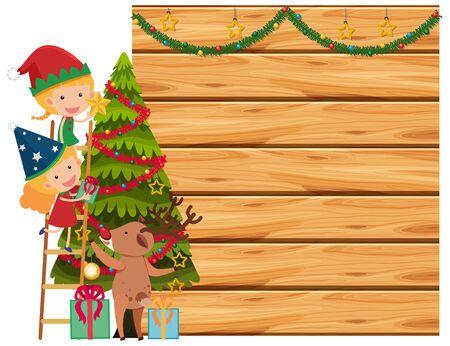 Border template with christmas theme background illustration Stock Illustratie