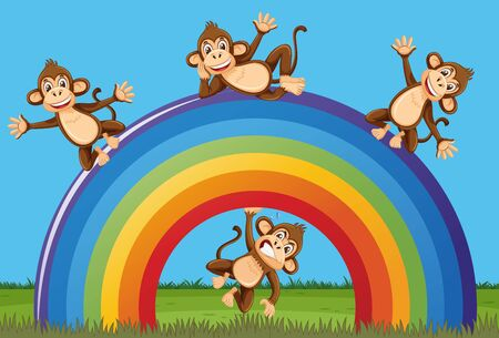 Scene with happy monkeys and big rainbow in the park illustration