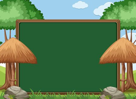 Board template design with green trees in the park background illustration Illustration