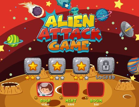 Screen template for computer game with alien attack theme illustration Stock Illustratie
