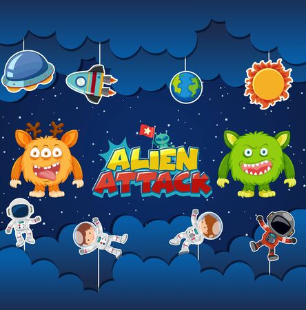 Alien attack poster design with aliens and astronauts illustration