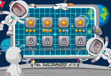 Screen template for space theme game with astronauts in background illustration Stock Illustratie