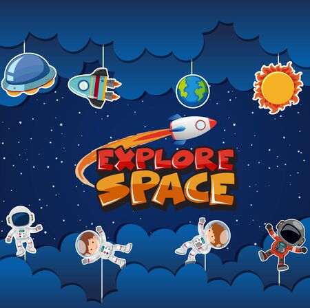 Poster design with many astronauts and planets in background illustration Stock Illustratie