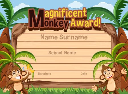 Certificate template for magnificent award with monkeys in background illustration