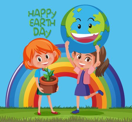 Happy earth day poster design with two girls and happy earth illustration