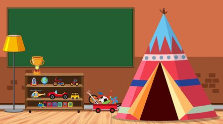 Room with tent and many toys illustration Illustration