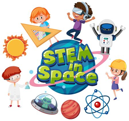 Sticker template for word STEM in space illustration