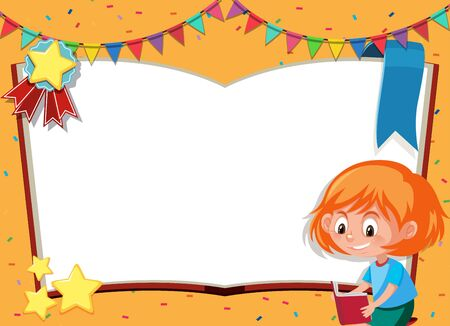 Banner template with happy girl reading book in background illustration Illustration