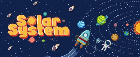 Poster design with solar system and astronaut flying in space background illustration  イラスト・ベクター素材