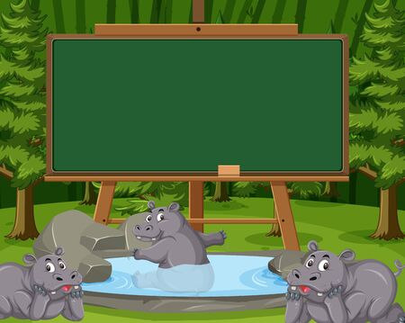Blackboard template design with hippo in the pond background illustration