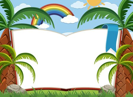 Sign template with trees and blue sky background illustration