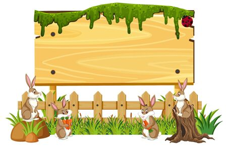 Wooden sign template with brown bunnies in the park illustration