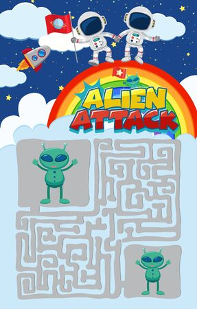 Game template with astronauts and aliens in background illustration  イラスト・ベクター素材