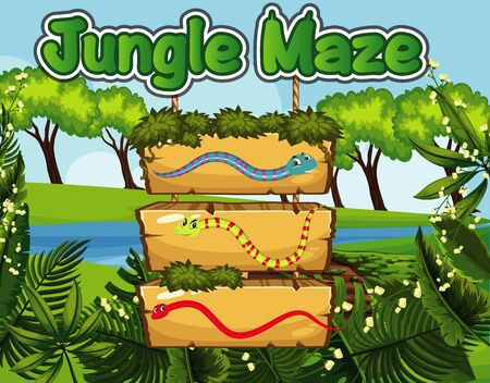 Jungle maze game design with snakes and jungle background illustration 向量圖像
