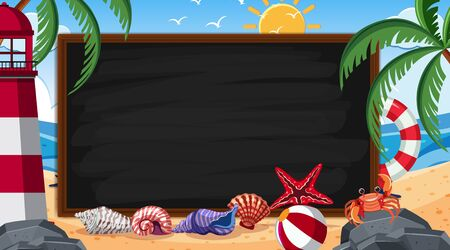 Border template with beach scene in background illustration  イラスト・ベクター素材