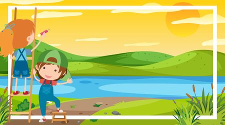 Frame template design with boy in the park in background illustration  イラスト・ベクター素材