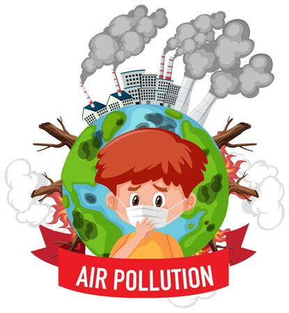 Poster design for stop pollution with boy wearing mask illustration  イラスト・ベクター素材