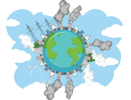 Pollution on earth with factory buildings making dirty smoke illustration Illustration