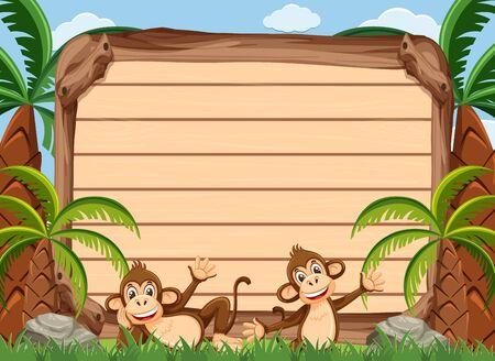 Wooden sign template with two happy monkeys in the park illustration 向量圖像
