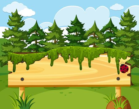Scene with wooden sign and many pine trees in background illustration
