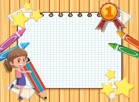 Banner template with happy girl and crayons in background illustration