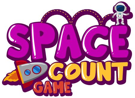Sticker template for word space count game with astronaut and spaceship illustration Stock Illustratie
