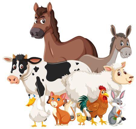 Many farm animals on white background illustration