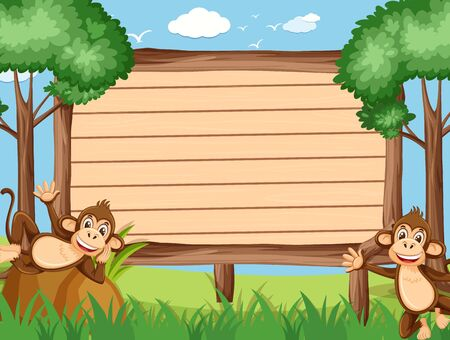 Wooden sign template with happy monkeys in the park illustration
