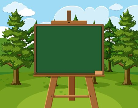 Blackboard template design with pine trees in the forest illustration