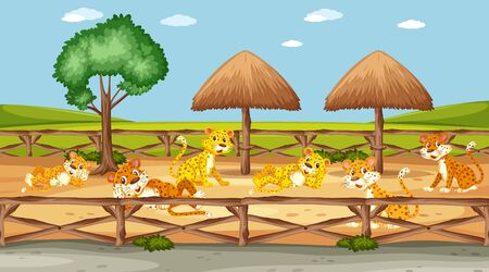 Scene with many tigers in the zoo illustration