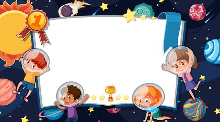 Frame template design with space theme illustration