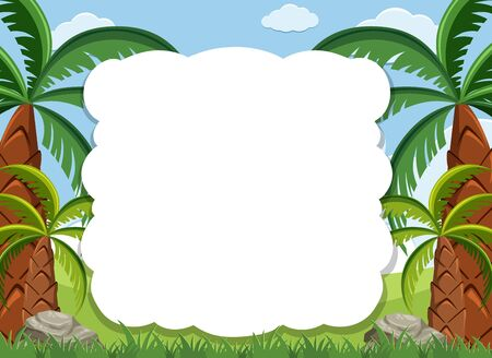 Frame design template with many trees in background illustration