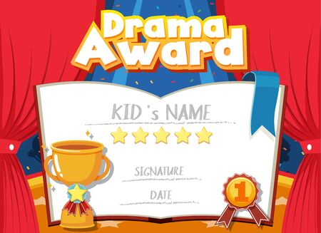 Certificate template for drama award with stage in background illustration Vector Illustratie