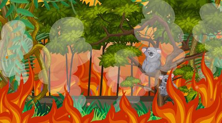 Scene with big wildfire in the forest  illustration