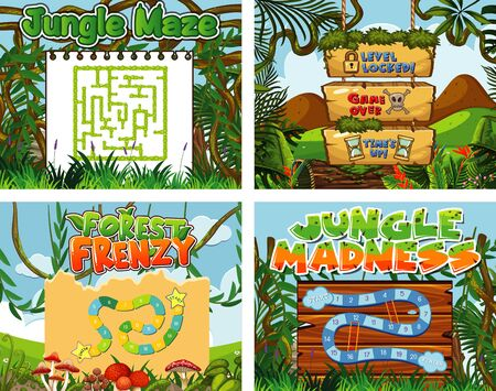Four background for game template with jungle theme illustration