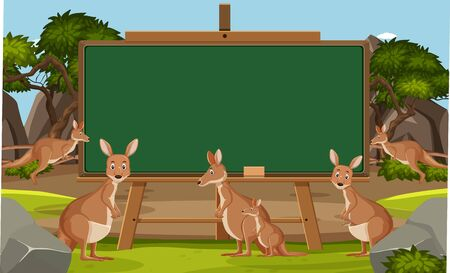 Blackboard template design with kangaroo in the zoo illustration