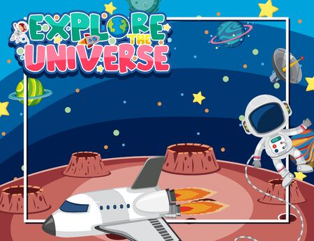 Background template design with astronaut and spaceship in universe illustration