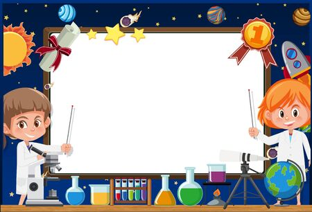 Banner template with two girls in science gown working in the lab illustration Illustration